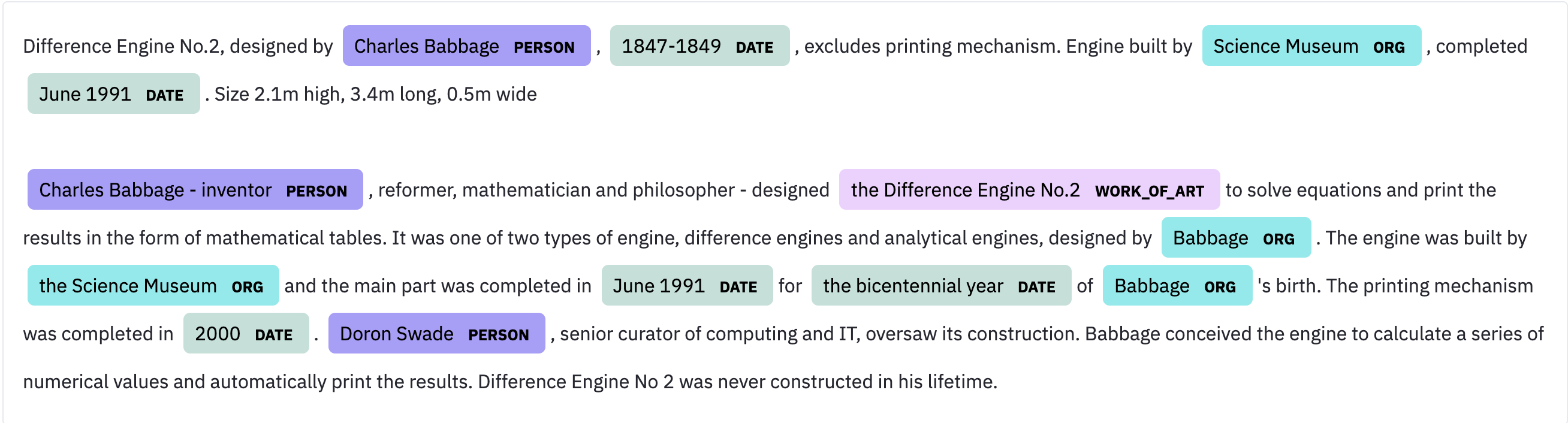 Screenshot description field of Difference Engine No.2, designed by Charles Babbage, built by Science Museum