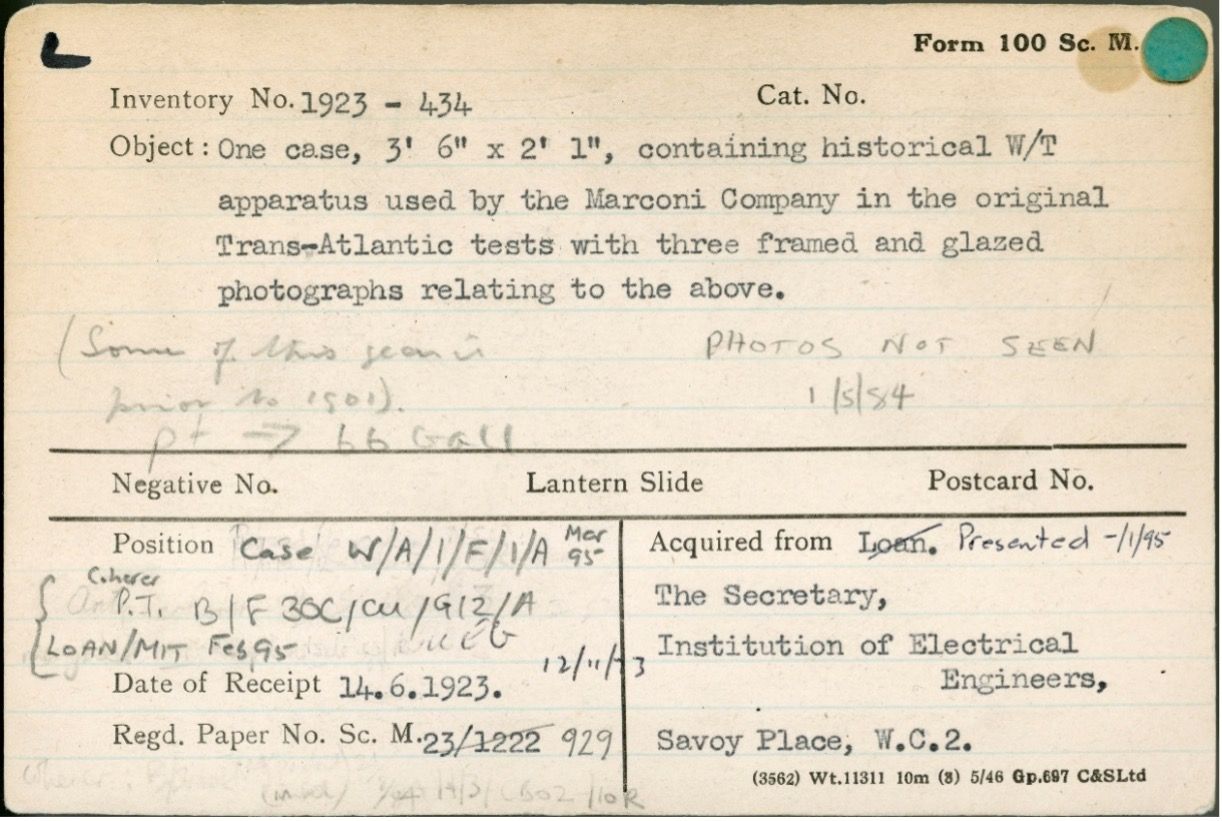 Example of a 'Form 100' from the Science Museum Group collection