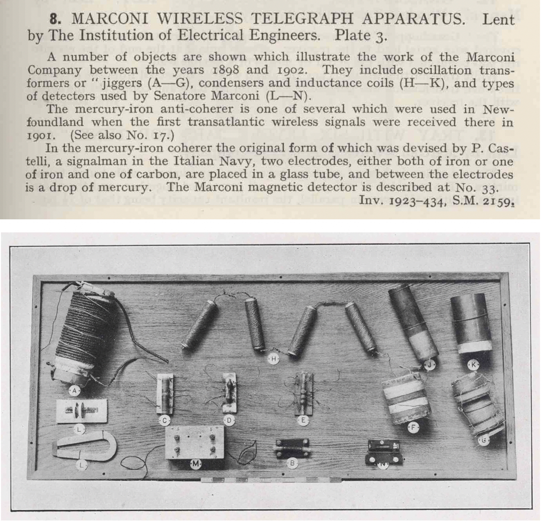 Scans from the Museum's published 1925 catalogue of the Marconi Wireless Telegraph Apparatus