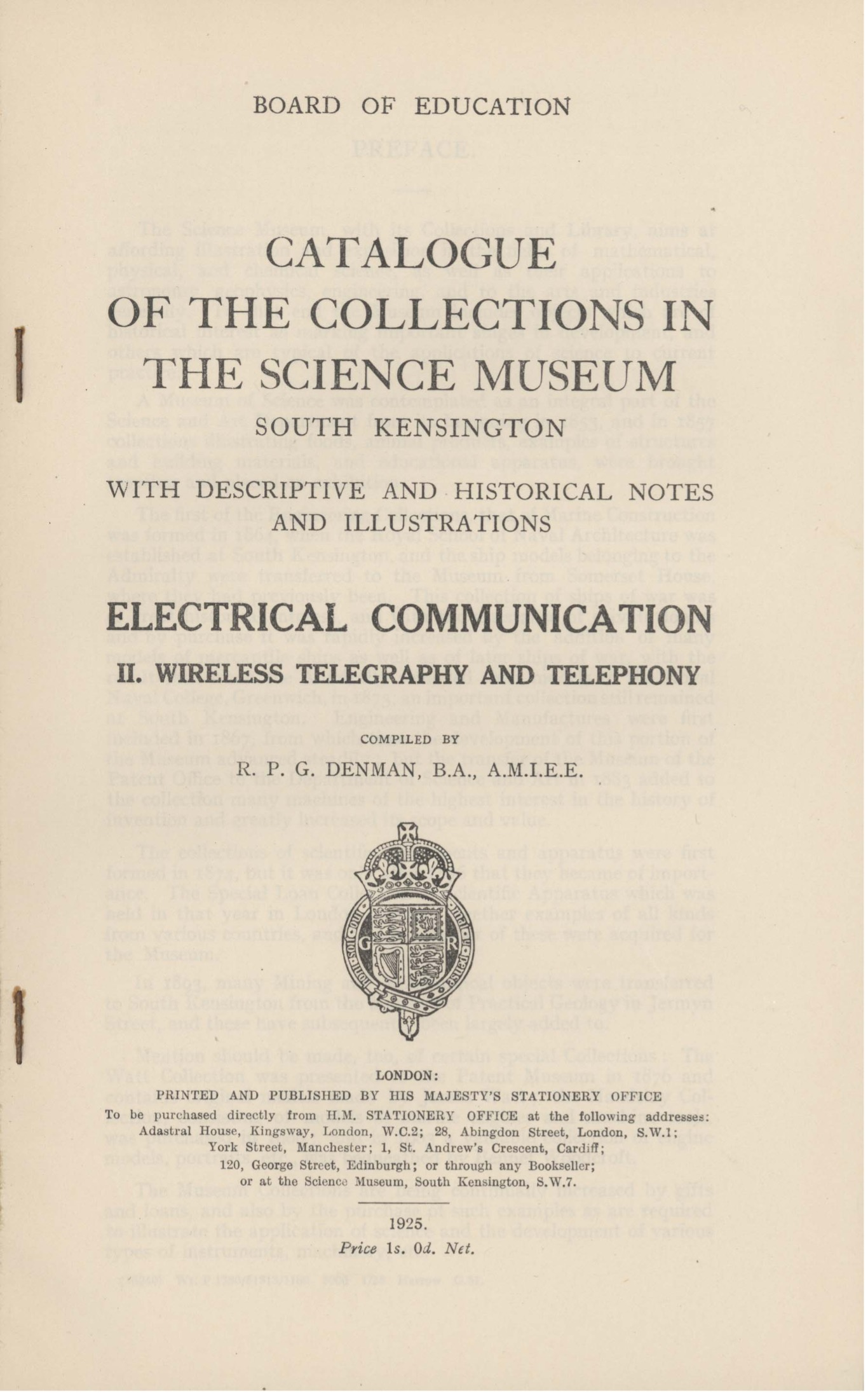 Example of a Collections Catalogue from the Science Museum Group collection