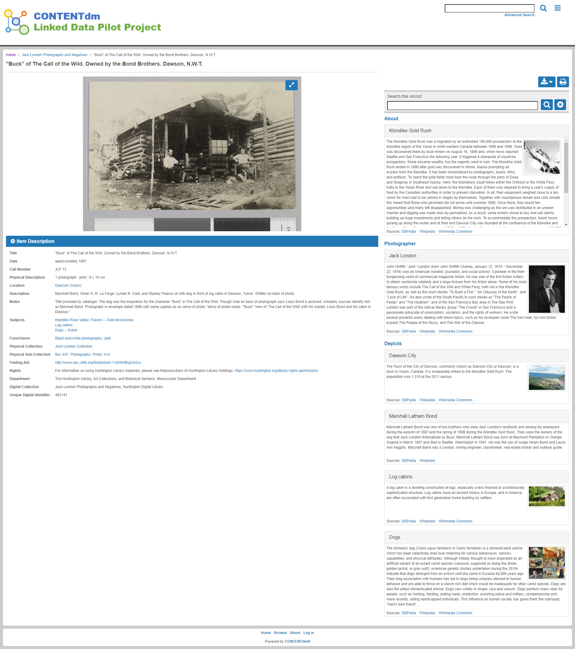 Prototype interface from CONTENTdm Linked Data Pilot Explorer project showing collection image with right-hand knowledge panel listing contextual intormation such as historical events, people, places and things
